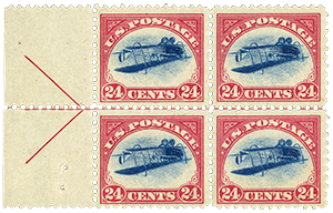 "1918 24c ""Inverted Jenny"" Air Post Block of Four"