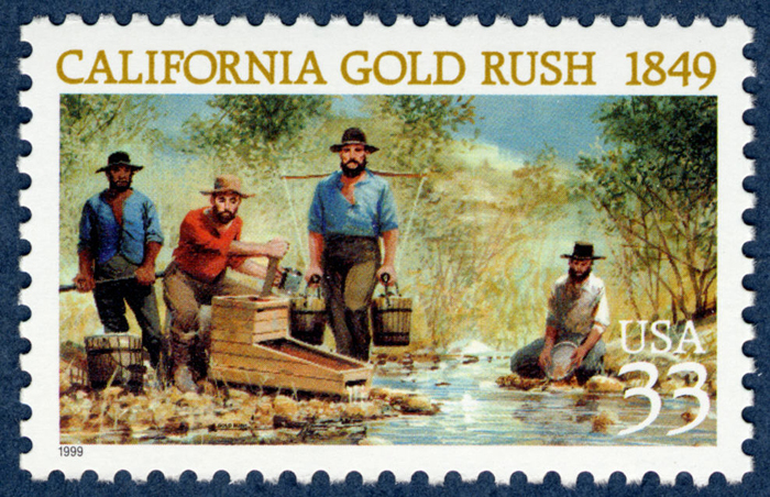 California Gold Rush 1849 stamp with a painting of four men sifting for gold in a river