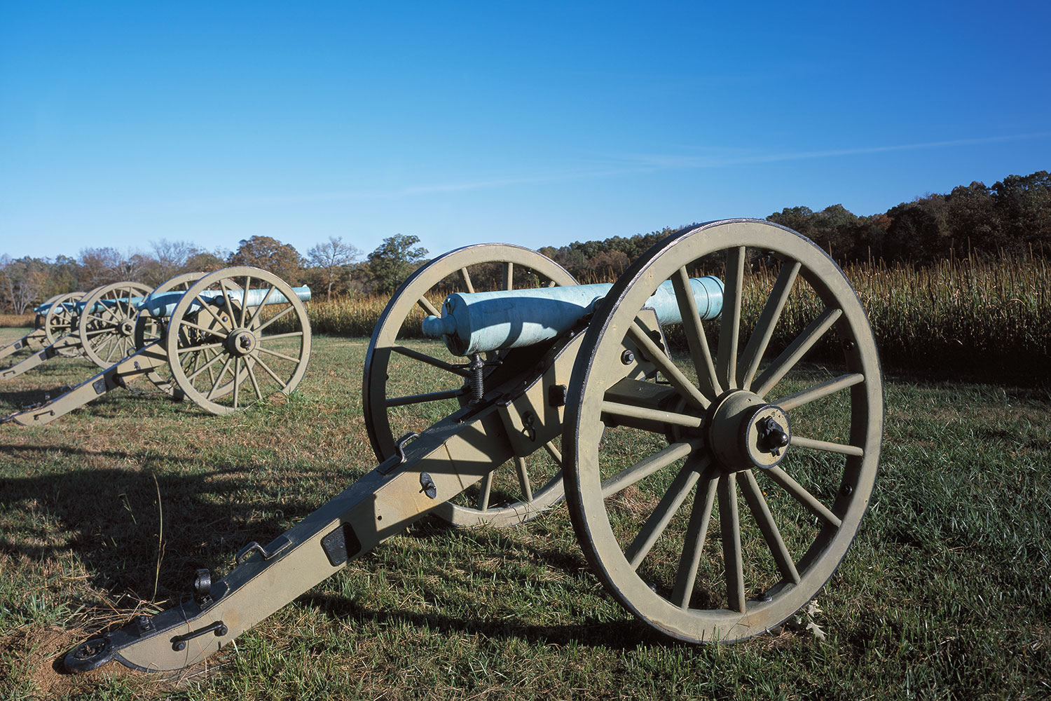 Union field artillery pieces at Shiloh National Military Park in Tennessee.