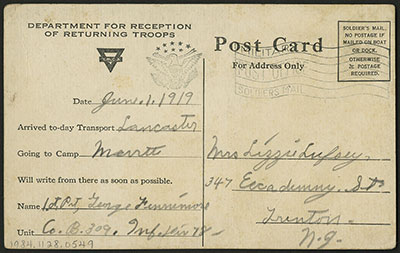 World War I safe return postcard showing recipient's address