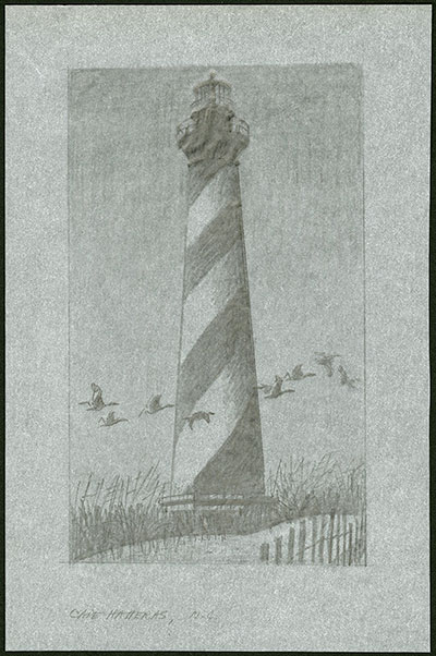 37¢ Cape Lookout Light stamp art