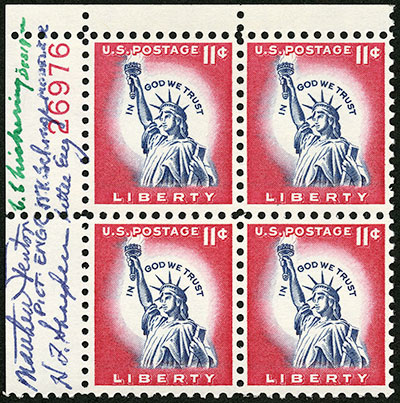 Statue of Liberty signed plate block