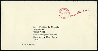 Envelope showing Dwight D. Eisenhower metered free frank, 1964-1965