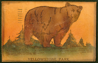 Yellowstone leather postcard
