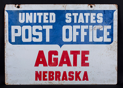 Agate, Nebraska post office sign