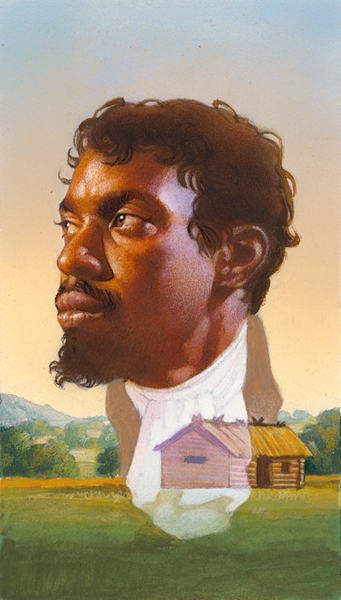 airbrush painting of a bust of Jean Baptiste Pointe Du Sable superimposed over a log cabin