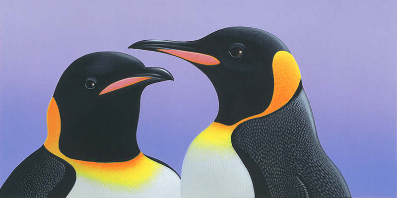painting of the heads of two King Penguins