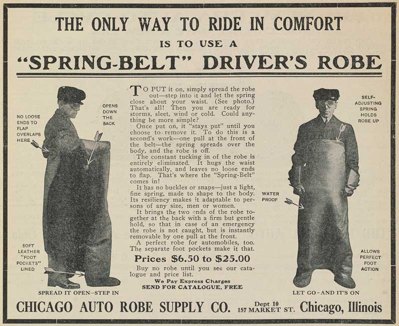 Spring-belt lap robe advertisement in a rural letter carrier magazine