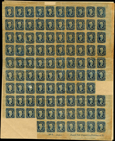 Confederate pane of green stamps
