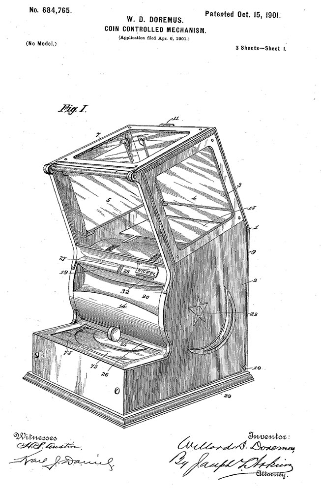 A coin controlled mechanism patent