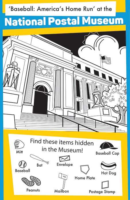 A black and white drawing of the National Postal Museum with a bank of objects hidden in the drawing.