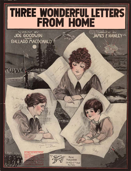 Three Wonderful Letters From Home, Words by Joe Goodwin and Ballard MacDonald, Music by James F. Hanley cover with drawing of a girl, a young woman, and an elderly woman writing letters