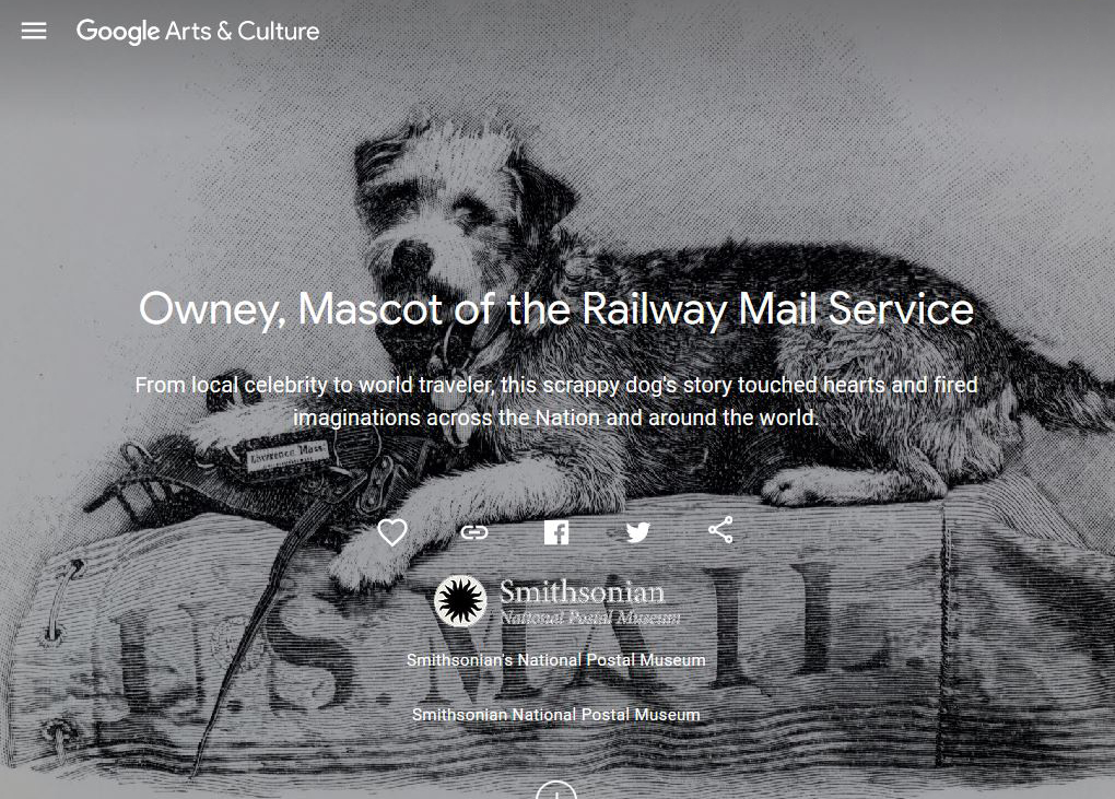 Illustration of Owney the dog on a mailbag