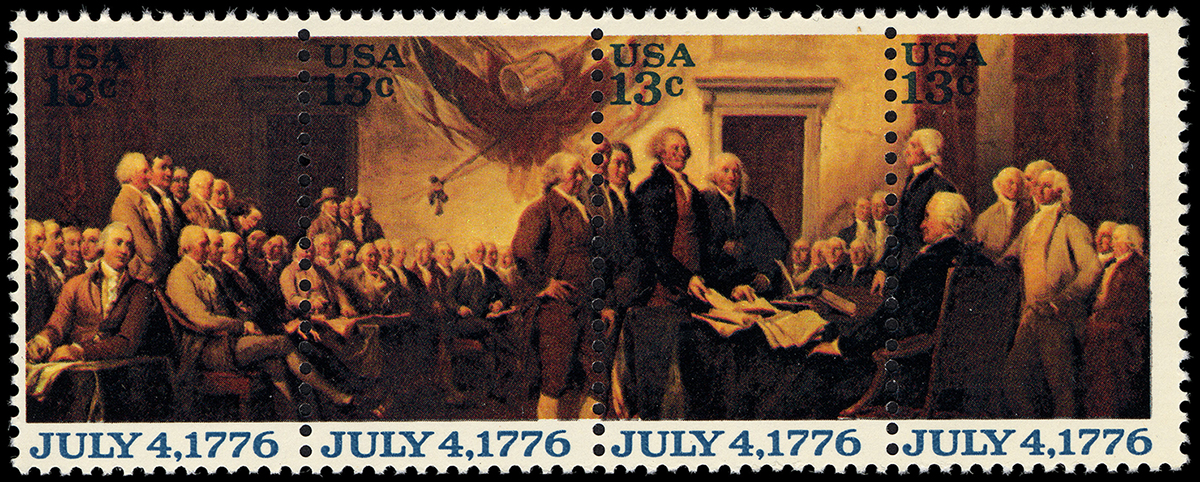 13-cent Declaration of Independence strip of four