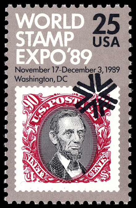 25-cent World Stamp Expo '89 stamp
