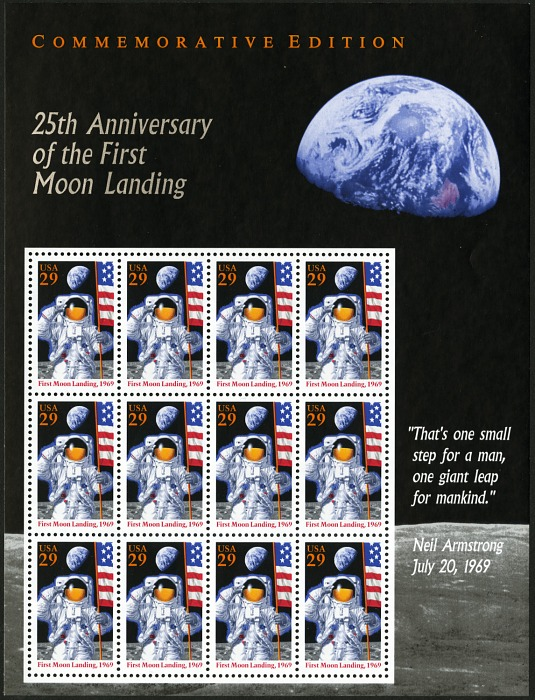 29c 25th Anniversary of Moon Landing sheet of twelve