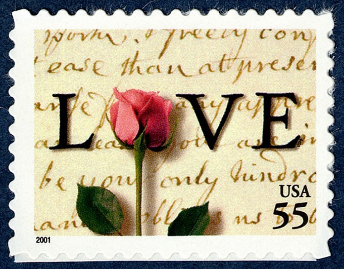 55-cent LOVE Letter and Rose stamp