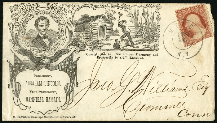 3-cent Washington stamp on 1860 Lincoln Campaign Cover