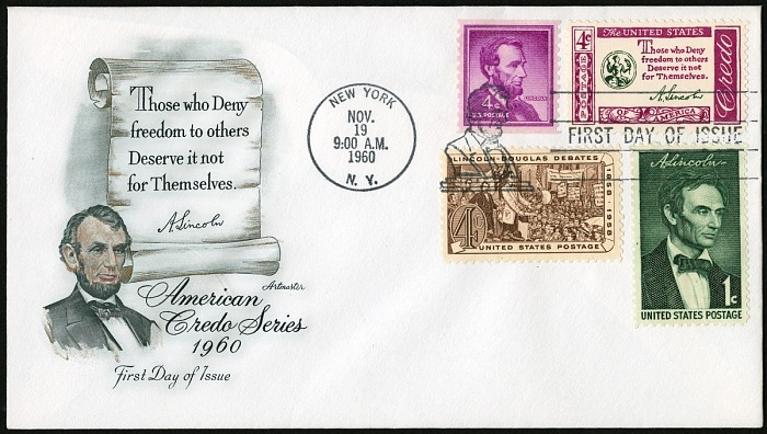 4-cent Lincoln Quotation single on First Day Cover