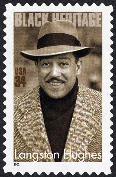 34-cent stamp featuring a photo of Langston Hughes