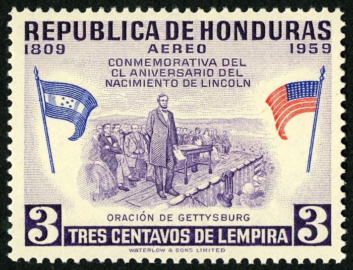 3-cent Lincoln Delivering Gettysburg Address, Honduras