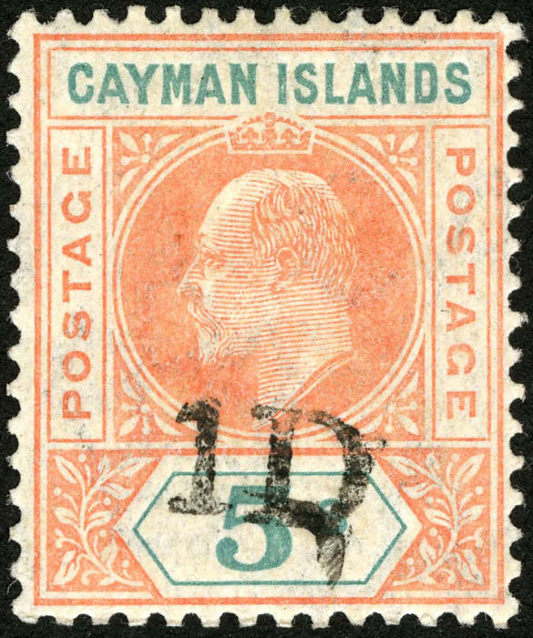 1p overprint on 5sh King Edward VII stamp