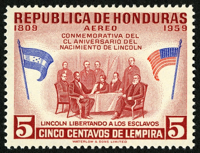 5-centavo Lincoln Freeing The Slaves stamp, Honduras