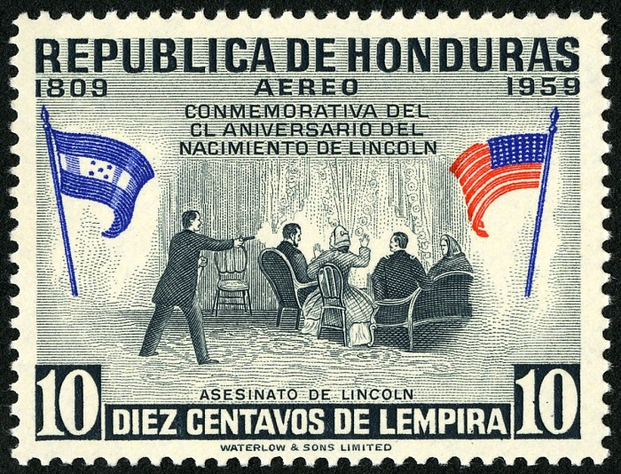 10-centavo Assassination of Lincoln stamp