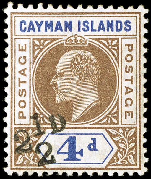 2-1/2p overprint on 4p King Edward VII stamp