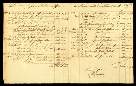 Benjamin Franklin's General Post Office Account