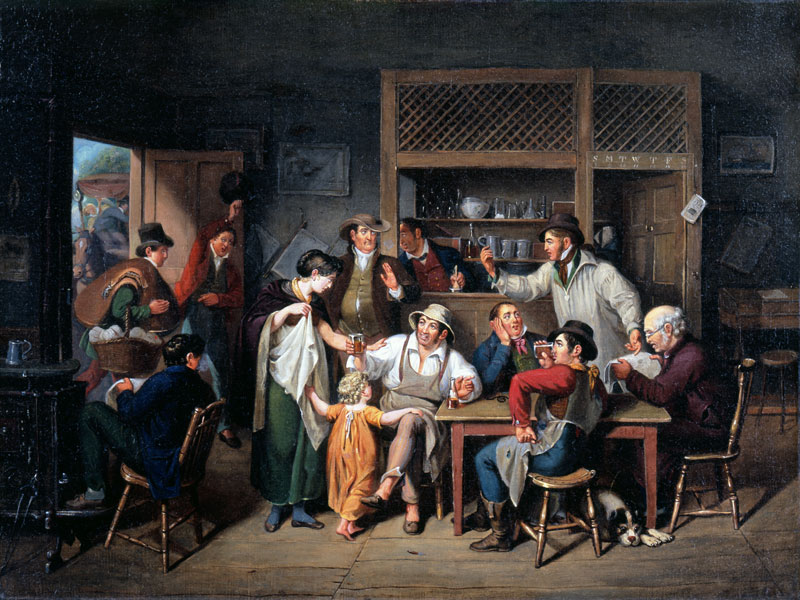 Painting of several people having lively conversation in a tavern