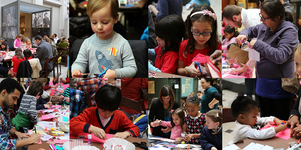Eight photos of Holiday Card Workshop participants working with paper crafts