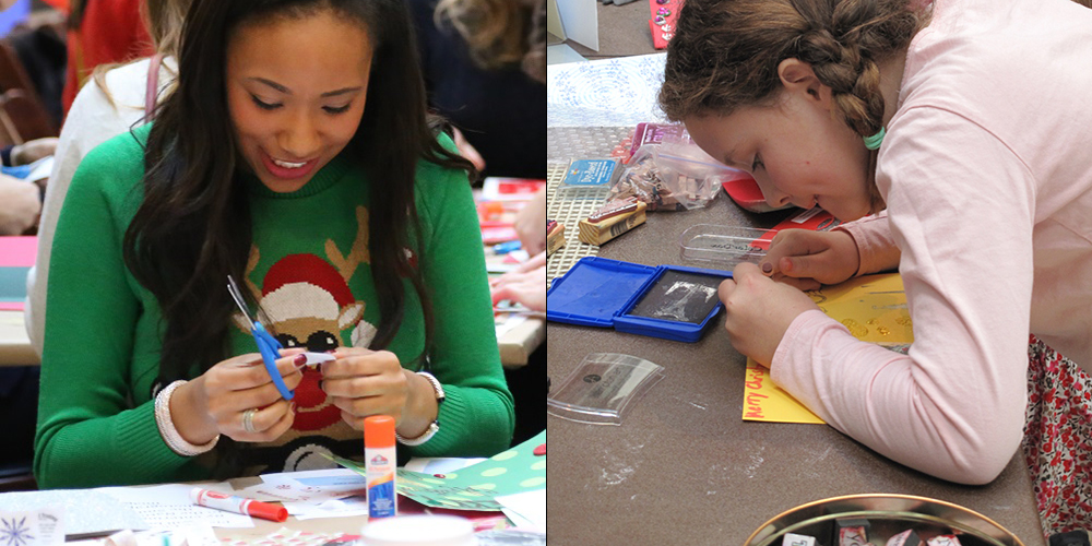 Two photos of Holiday Card Workshop participants