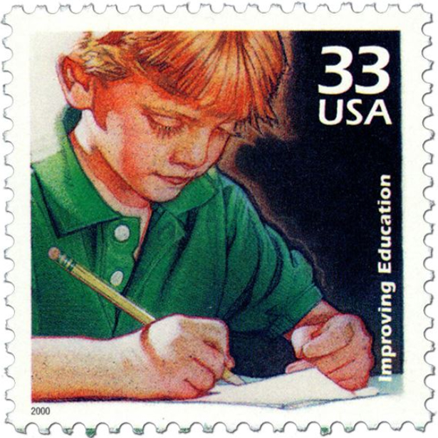 Improving Education stamp- an illustrated boy in a green shirt with a pencil, writing on a sheet of paper