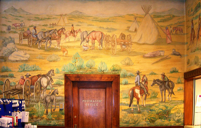 Painting of Indians and cowboys on a wall in a post office
