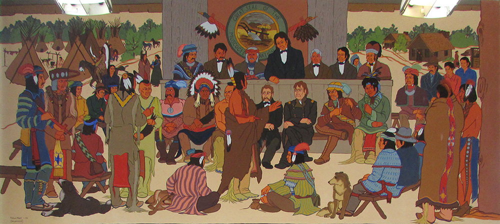 A meeting of about 30 people holding a meeting. Representatives from 17 tribes are present, along with General Zachary Taylor of Ft. Gibson and Creek Indian agent James Logan.