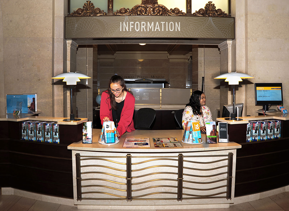 The Information Desk in the museum's Historic Lobby