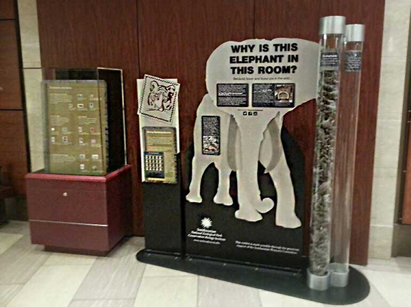 Display cases with information about the Saving Vanishing Species semipostal stamp