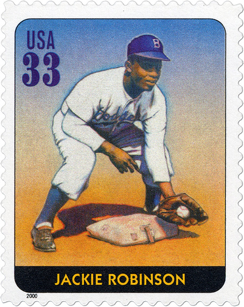 33-cent stamp featuring an illustration of Jackie Robinson