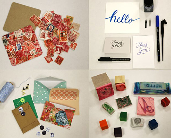 Four photographs of letter writing and stamp materials.