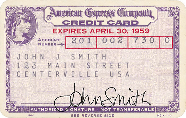 1959 American Express Personal Card