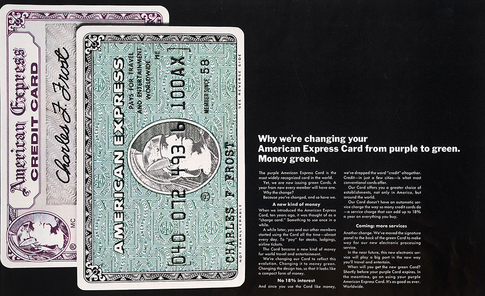 Graphic explaining the change from purple to green American Express card color