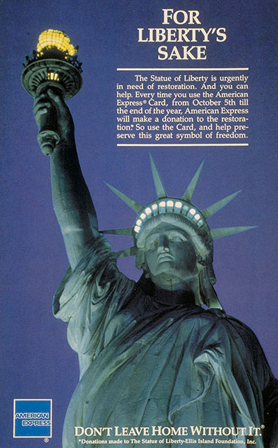 Advertisement showing the Statue of Liberty