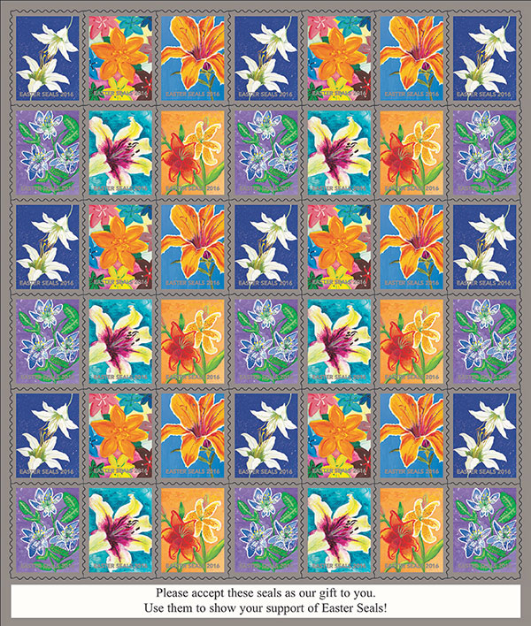 Flowers Easterseals sheet of 42. 'Please accept these seals as our gift to you! Use them to show your support of Easter Seals!'