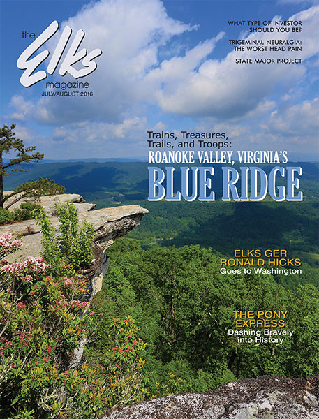 The Elks Magazine cover, July-August 2016, shows Virginia's Blue Ridge landscape