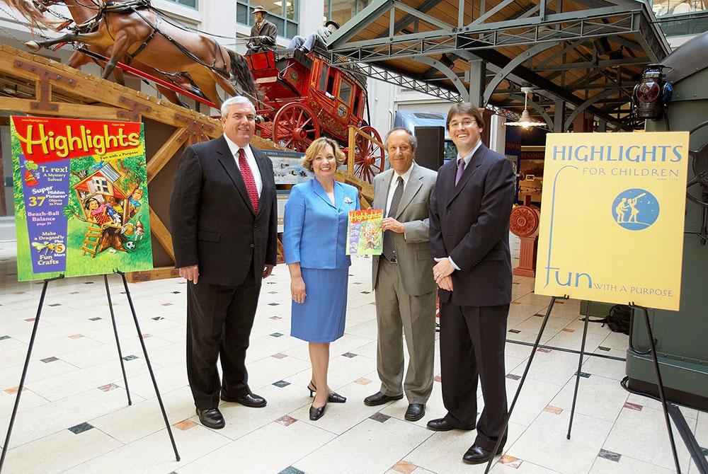 The United States Postal Service and Highlights celebrate Highlights for Children's, one-billionth copy and 60th year anniversary. Pictured: John E. Potter, Postmaster General of the United States; Christine French Cully, Editor in Chief, Highlights for Children; Allen Kane, Director, National Postal Museum; and Kent S. Johnson, CEO, Highlights for Children, Inc.