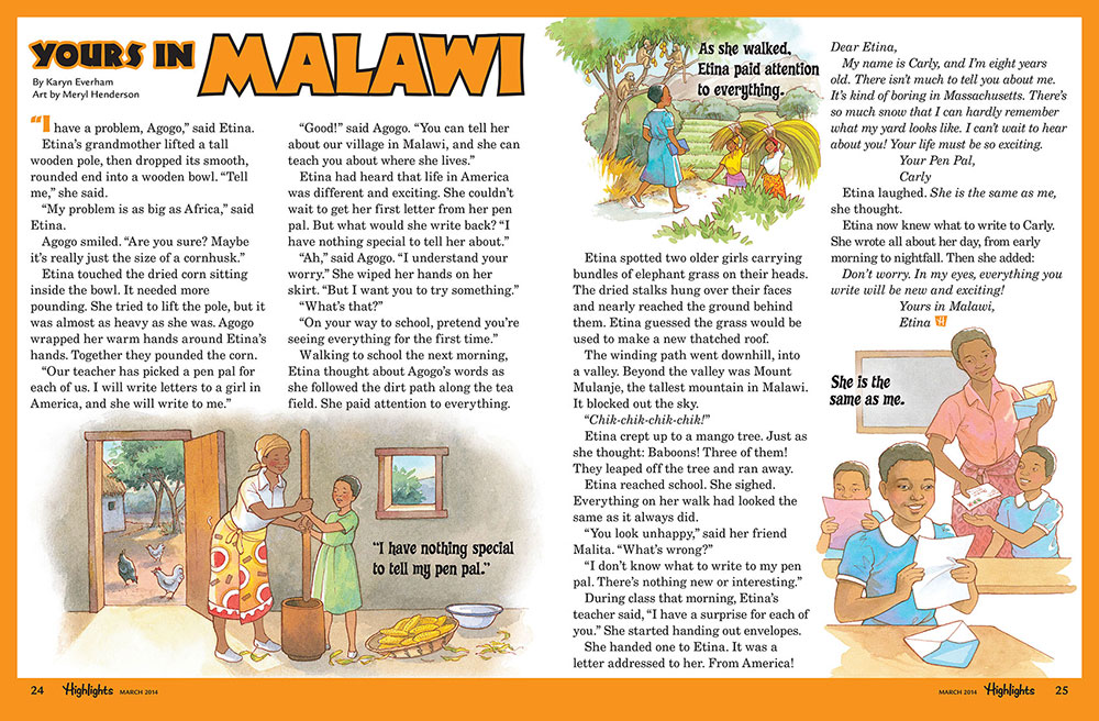 Page in Highlights magazine entitled 'Yours in Malawi'