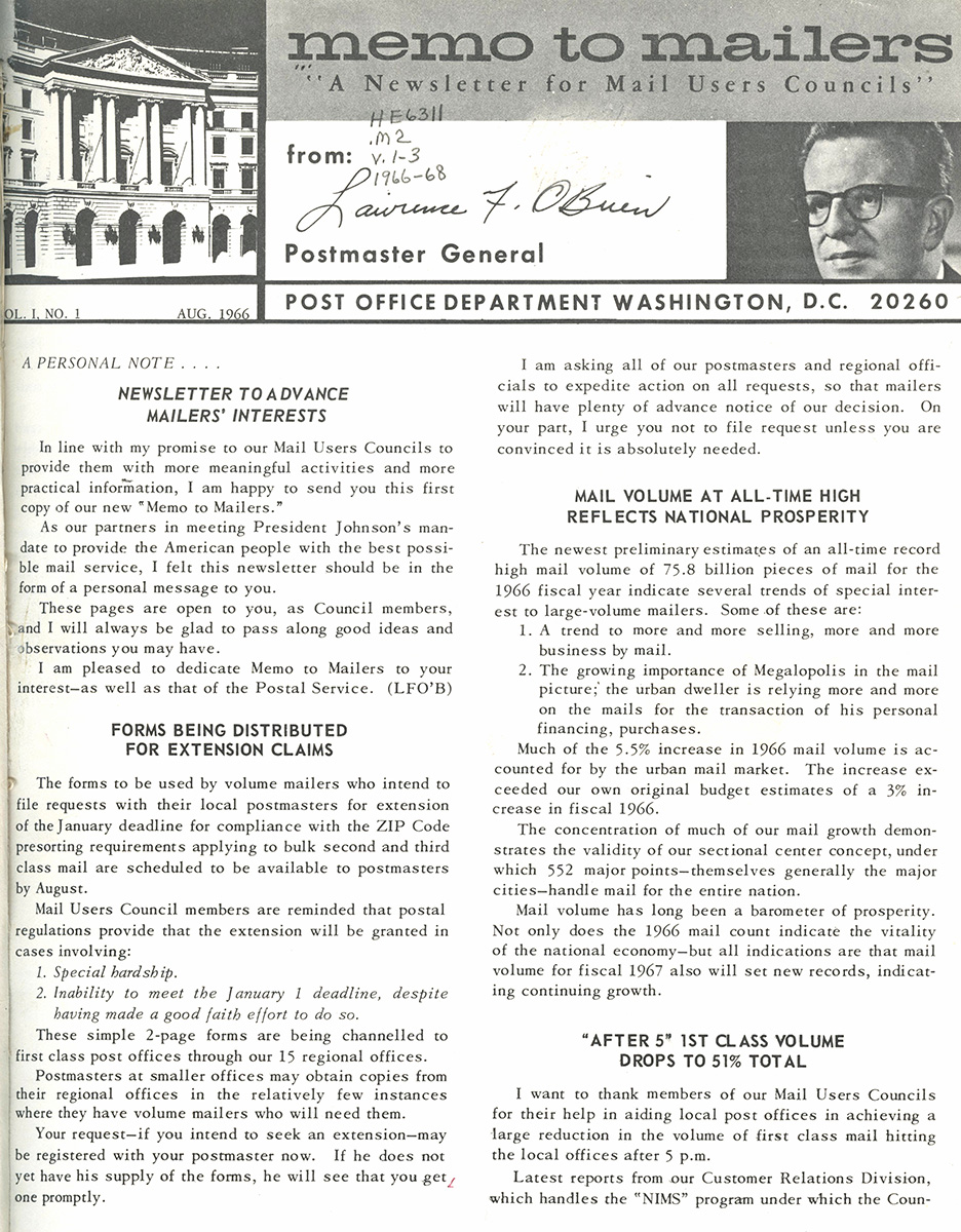 First Issue of Memo to Mailers, 1966