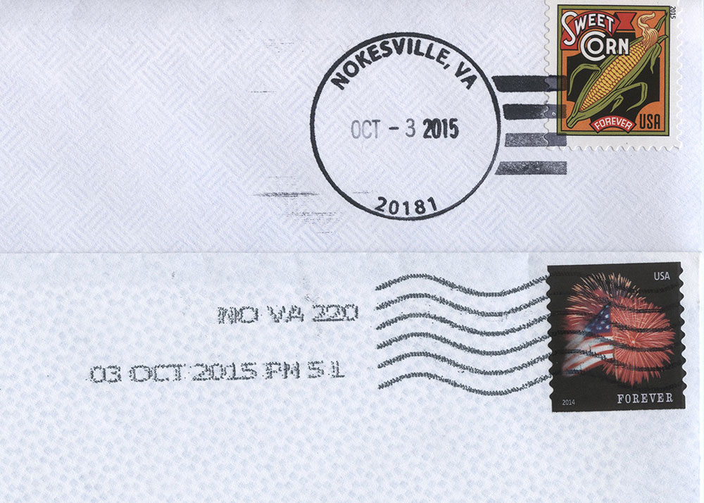 Postmarks on Letters Mailed for Local and Out-of-Town Delivery, 2015
