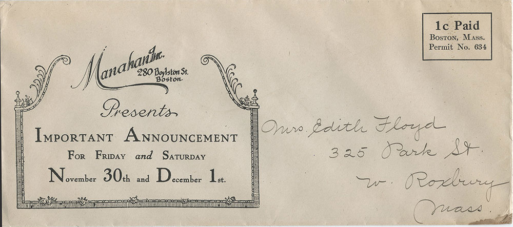 Mailing permit imprint on envelope mailed circa 1920.
